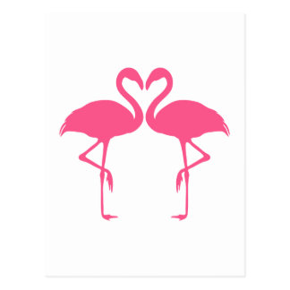 Flamingo heart, two pink flamingos in love postcard