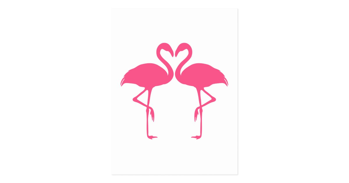 flamingo heart two pink flamingos in love postcard. Black Bedroom Furniture Sets. Home Design Ideas