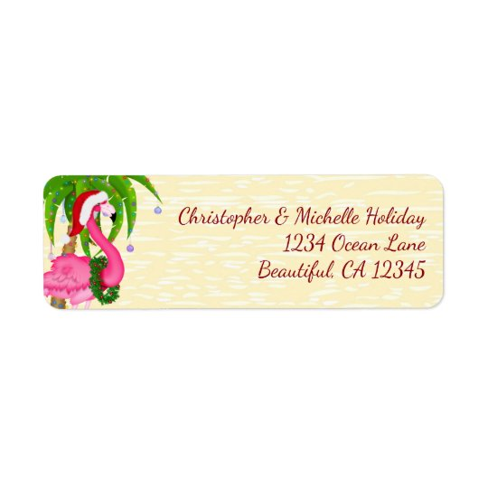 Flamingo Holiday Palm Tree Beach Christmas Address Return Address Label
