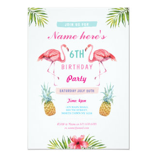 Flamingo Invite Pineapple Tropical Aloha Birthday