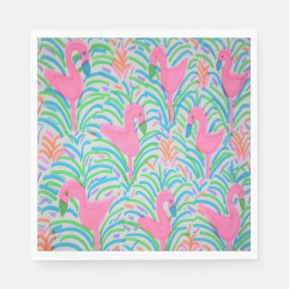 Flamingo Jungle Party Paper Napkins Paper Napkin