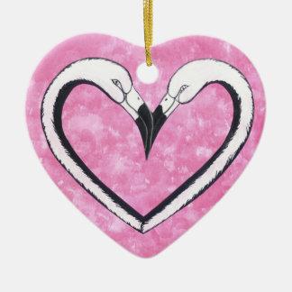 Flamingo Kiss heart Christmas Ornament
