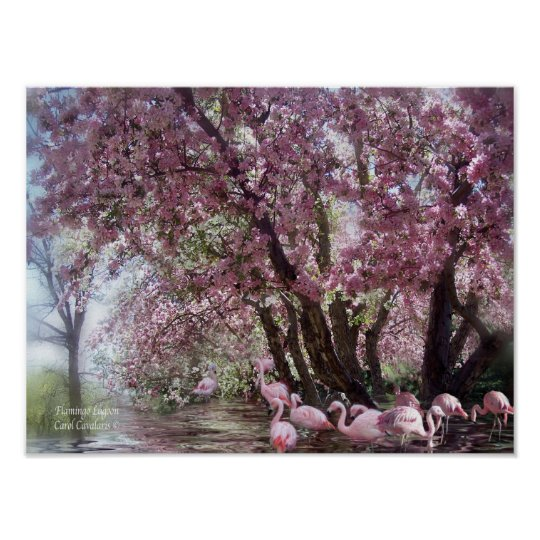 Flamingo Lagoon Art Poster/Print Poster