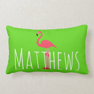 Flamingo Lime Green Name Accent Pillow