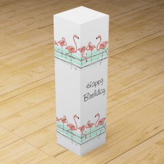 Flamingo Line Happy Birthday Text gift box wine