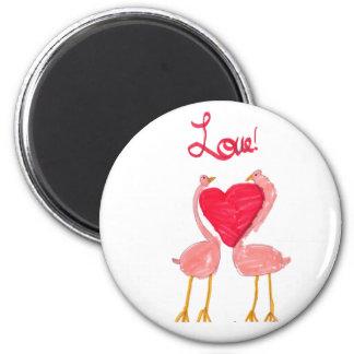 Flamingo Love 6 Cm Round Magnet