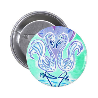 Flamingo Love (blue) 6 Cm Round Badge