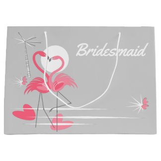 Flamingo Love Bridesmaid large Large Gift Bag