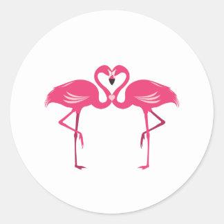 Flamingo Love Classic Round Sticker