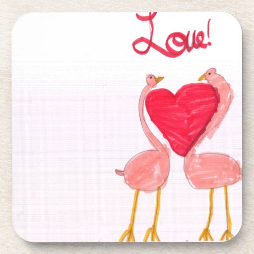 Flamingo Love Beverage Coasters