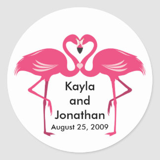 Flamingo Love - Customize Classic Round Sticker