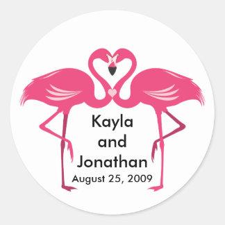 Flamingo Love - Customize Round Sticker