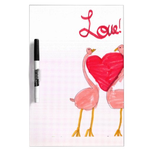 Flamingo Love Dry-Erase Board