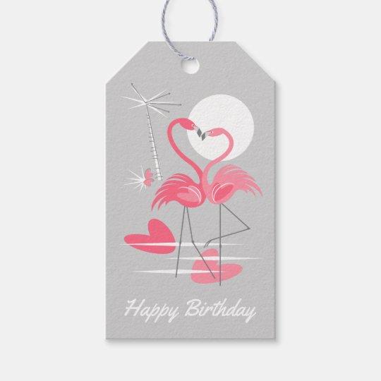 Flamingo Love Happy Birthday grey back gift tags
