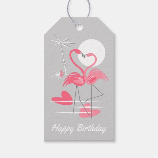 Flamingo Love Happy Birthday pink back gift tags