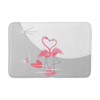 Flamingo Love Large Moon bath mat
