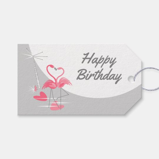 Flamingo Love Large Moon Birthday text landscape Gift Tags