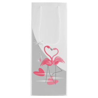 Flamingo Love Large Moon gift bag wine