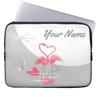 "Flamingo Love Large Moon Name laptop sleeve 13"""