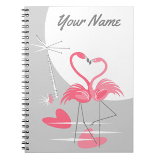 Flamingo Love Large Moon Name notebook