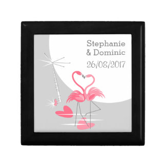 Flamingo Love Large Moon Names Date gift box black