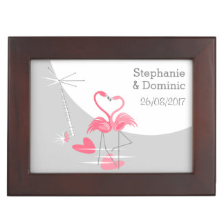 Flamingo Love Large Moon Names Dates keepsake box