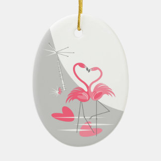 Flamingo Love Large Moon text ornament oval