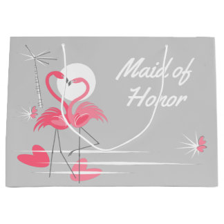 Flamingo Love Maid of Honor large Large Gift Bag