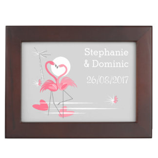 Flamingo Love Names Dates Text keepsake box