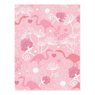 Flamingo love pattern postcard