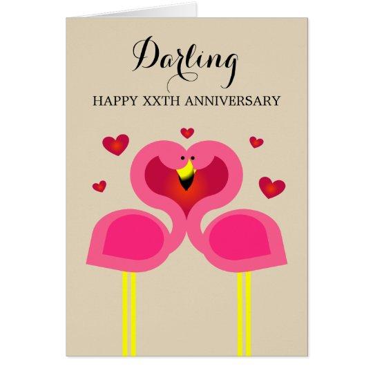 Flamingo Love Personalised Anniversary Card