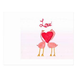 Flamingo Love Postcard