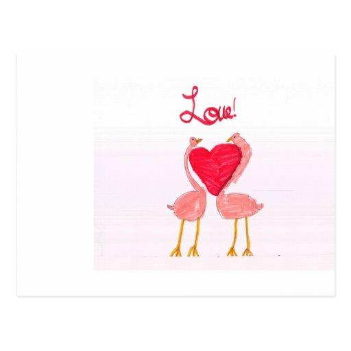 Flamingo Love Post Card