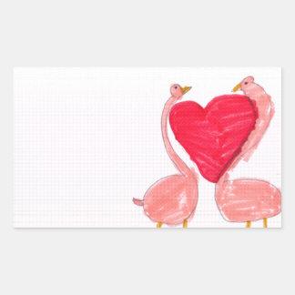 Flamingo Love Rectangular Sticker