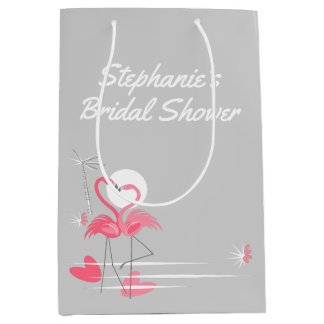 Flamingo Love Side Bridal Shower  medium Medium Gift Bag