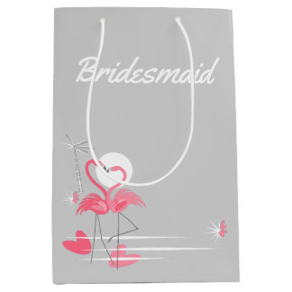 Flamingo Love Side Bridesmaid medium Medium Gift Bag