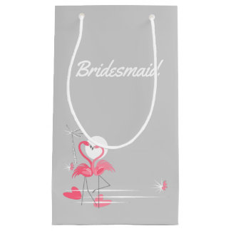 Flamingo Love Side Bridesmaid small Small Gift Bag