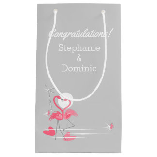 Flamingo Love Side Congratulations small Small Gift Bag