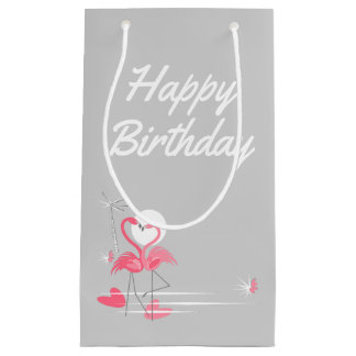 Flamingo Love Side Happy Birthday small Small Gift Bag