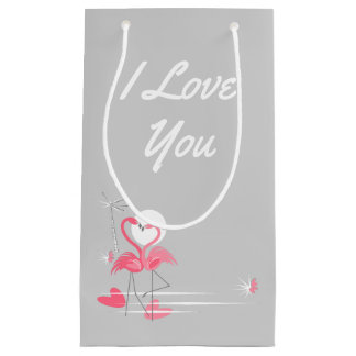 Flamingo Love Side I Love You small Small Gift Bag