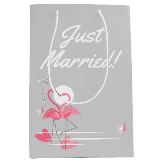 Flamingo Love Side Just Married! medium Medium Gift Bag