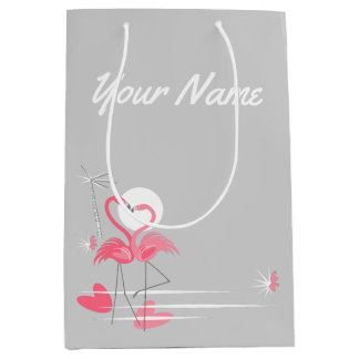 Flamingo Love Side Name medium Medium Gift Bag