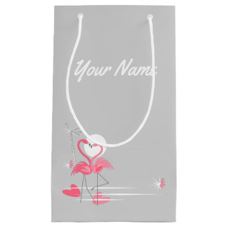 Flamingo Love Side Name small Small Gift Bag