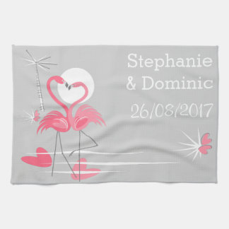 Flamingo Love Side Names Date kitchen towel