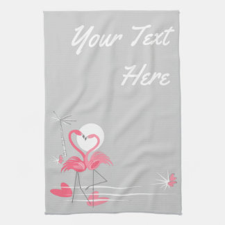 Flamingo Love Side Text kitchen towel vertical