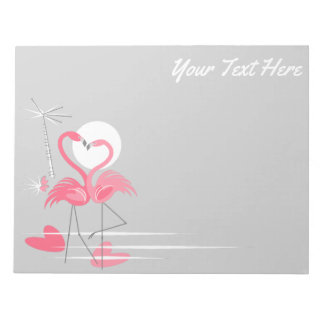 Flamingo Love Side Text notepad horizontal