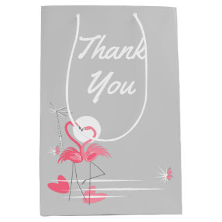 Flamingo Love Side Thank You medium Medium Gift Bag