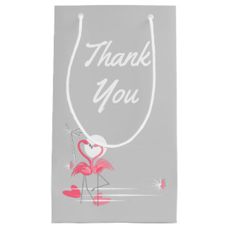 Flamingo Love Side Thank You small Small Gift Bag