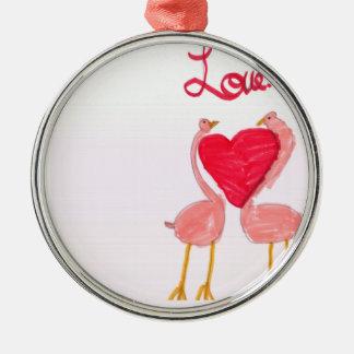 Flamingo Love Silver-Colored Round Decoration