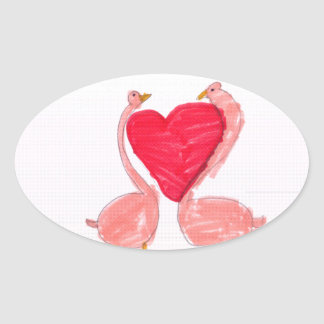 Flamingo Love Oval Sticker
